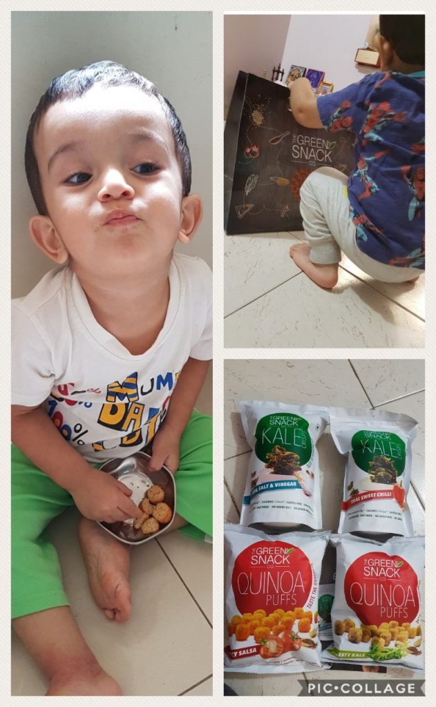 healthy snacks, quinoa, snacks for child, snacks for baby, healthy snacks for breastfeeding, snacks for moms, quinoa puffs, Kale, Green Snack co, Healthy eating India, get fit, Green Snack Co.